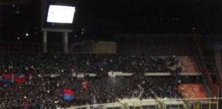 Catania vs Crotone, tifosi Curva Nord stadio Massimino